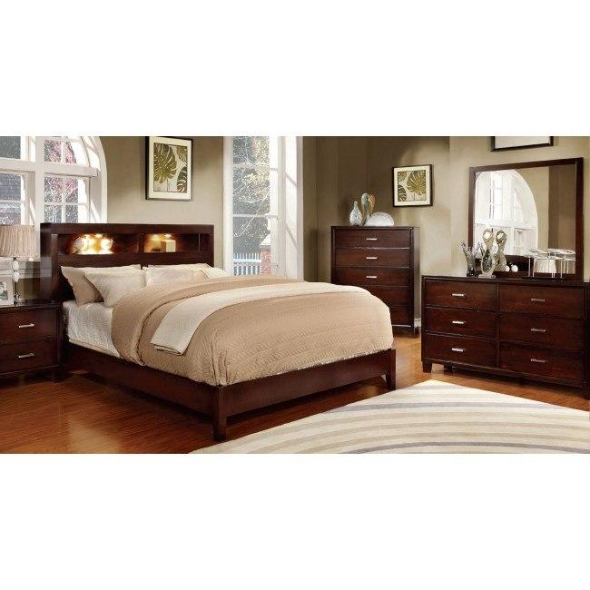 Enrico Bedroom Set w/ Gerico Bookcase Bed (Brown Cherry)