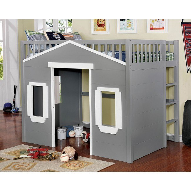 Eileen Full Loft Bed (Gray and White)