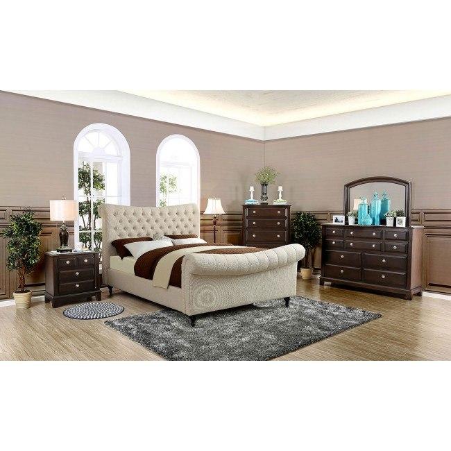Galene Upholstered Bedroom Set (Beige)