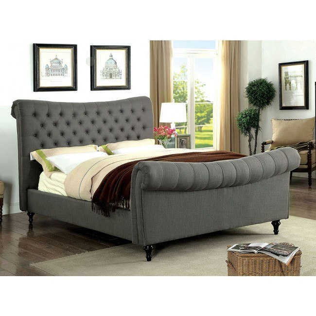 Galene Youth Upholstered Bed (Gray)