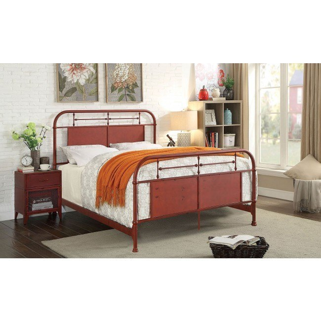 Haldus Youth Metal Bedroom Set (Distressed Red)
