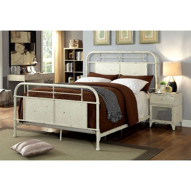 Haldus Youth Metal Bedroom Set Distressed White By Furniture Of