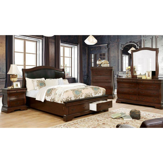 Merida Storage Bedroom Set (Brown Cherry)