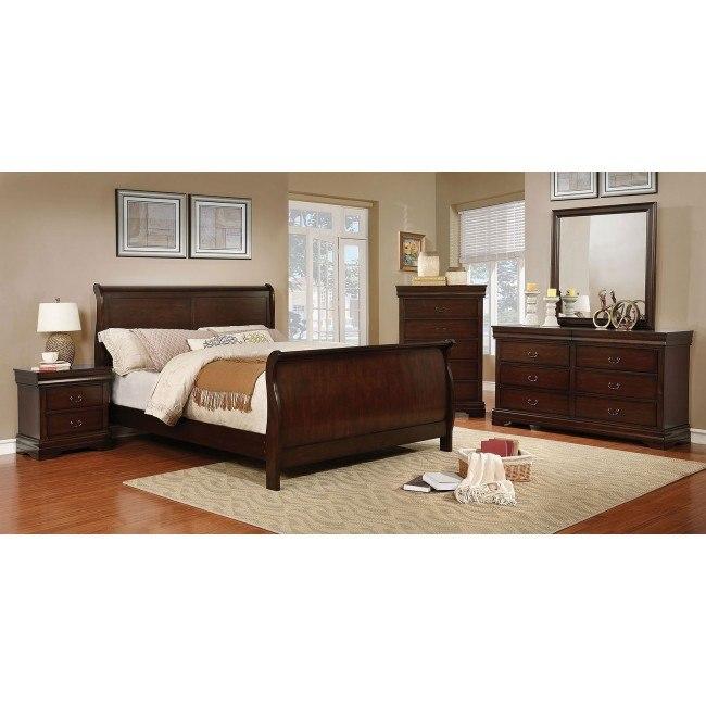 Eugenia Sleigh Bedroom Set (Brown Cherry)