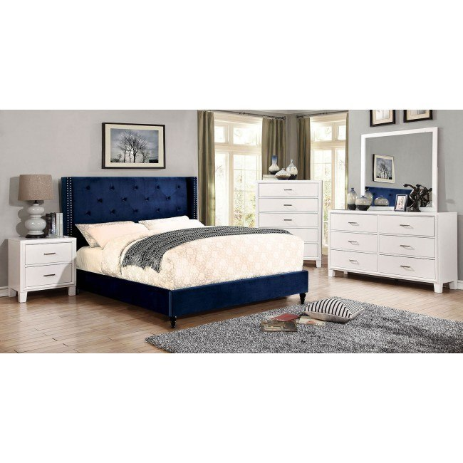 Anabelle Navy Upholstered Bedroom Set