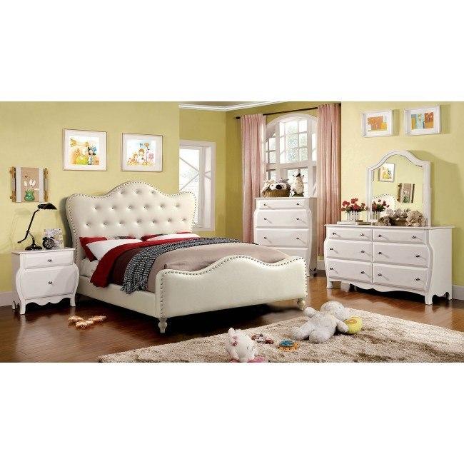 Sugar Youth Upholstered Bedroom Set (Ivory)