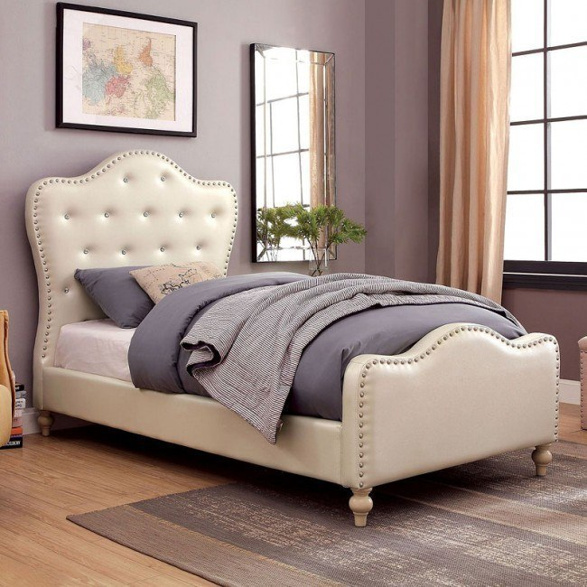 Sugar Youth Upholstered Bed (Ivory)