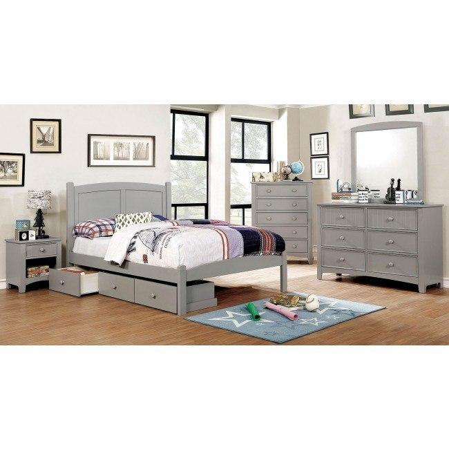 Cara Youth Platform Bedroom Set (Gray)