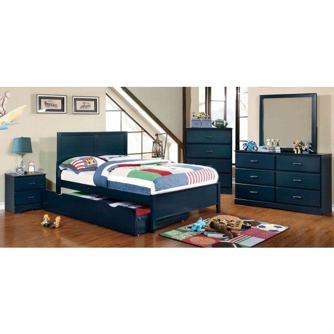 Prismo Youth Platform Bedroom Set (Blue)