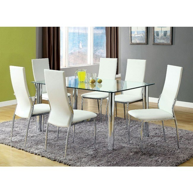 Oahu Dining Room Set w/ White Chairs