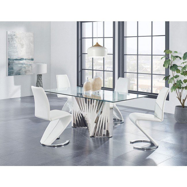 D2056 Dining Room Set w/ D9002 White Chairs