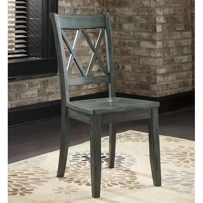 Mestler Side Chair (Antique Blue) (Set of 2)