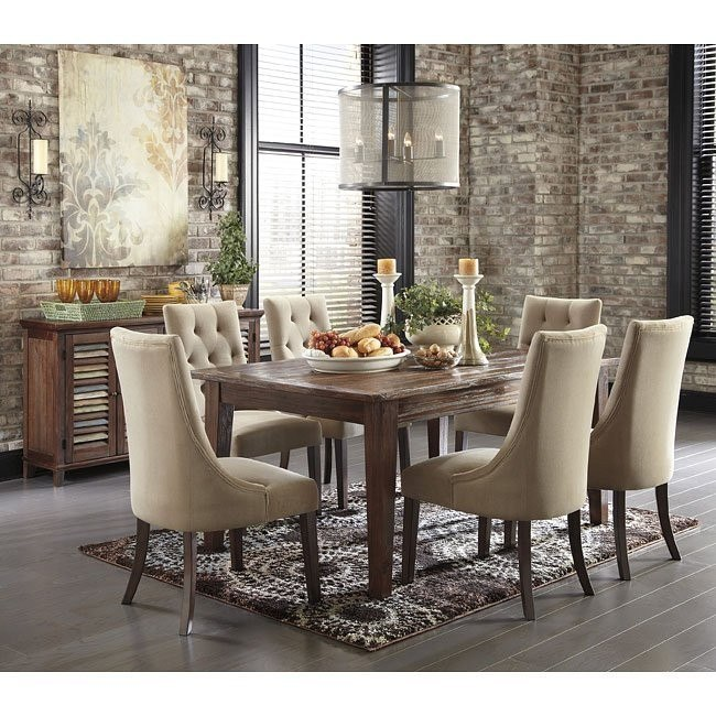 Swell Mestler Brown Dining Set W Upholstered Chairs Home Interior And Landscaping Dextoversignezvosmurscom