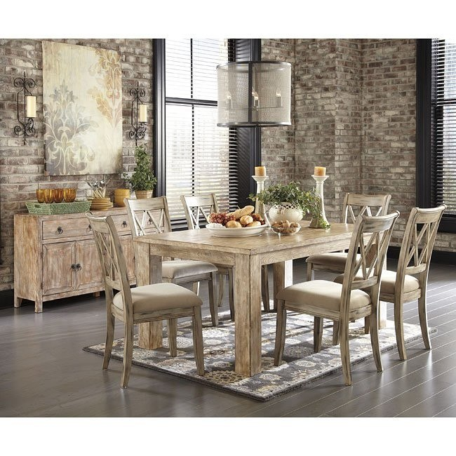 Etonnant Mestler Aged Bisque/ Weathered Pine Dining Set
