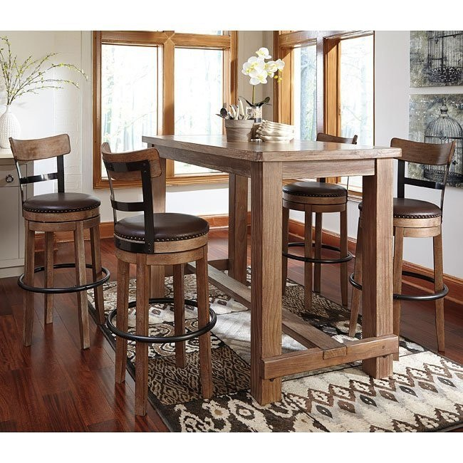 Bar Dining Tables: Pinnadel Bar Table Set W/ Swivel Barstools By Signature