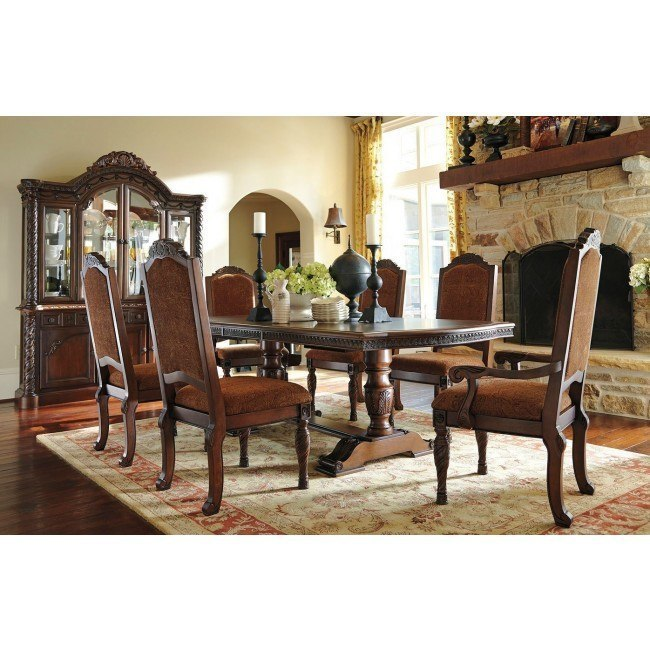 North Shore Dining Room Set: North Shore Pedestal Dining Room Set W/ Upholstered Chairs