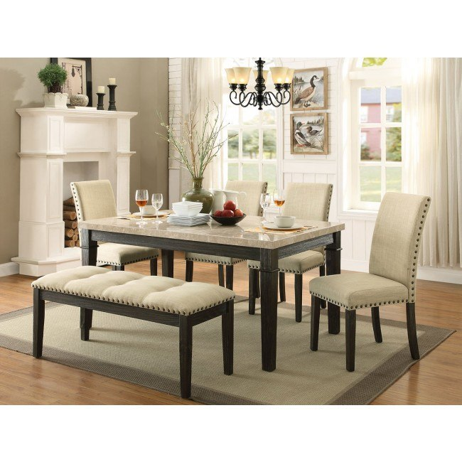 Greystone Dining Room Set w/ Upholstered Chairs and Bench