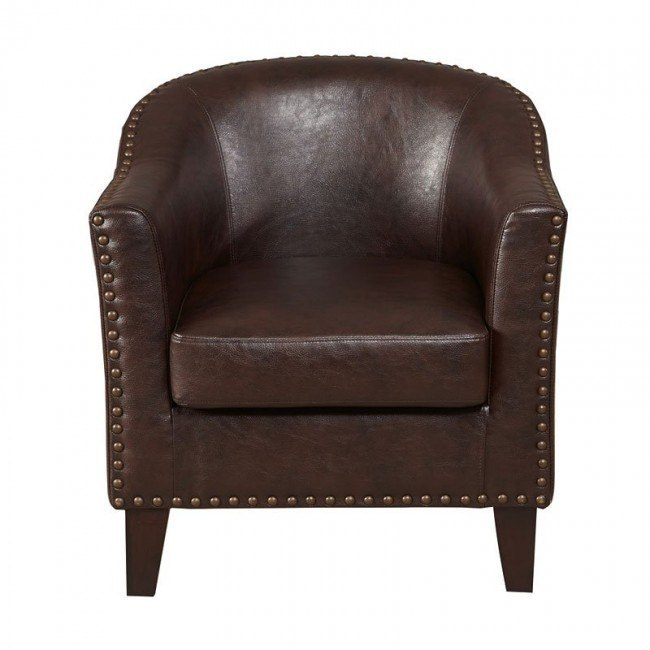 Faux Leather Barrel Accent Chair With Nailbead: Brown Faux Leather Barrel Accent Chair By Pulaski