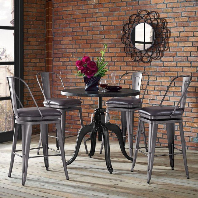 Industrial Adjustable Height Table Set w/ Graphite Swivel Barstools