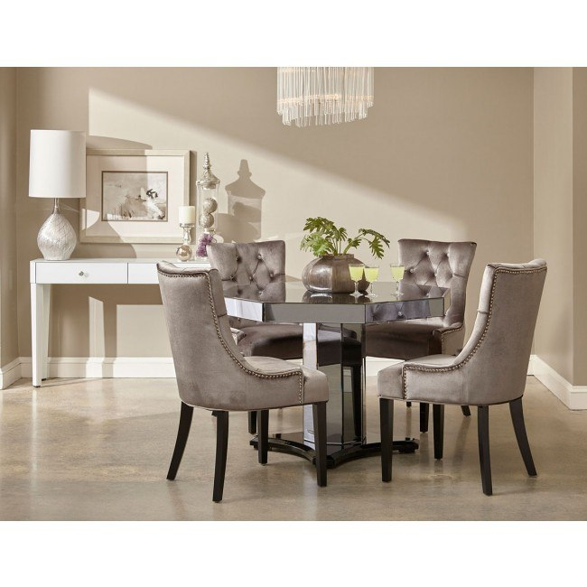 Smoked Mirrored Octagon Dining Room Set