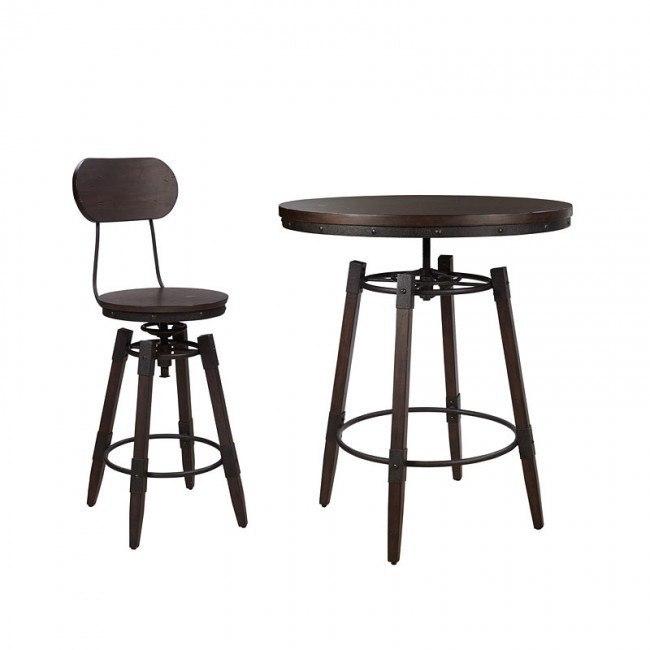 Industrial Adjustable Height Bar Table Set