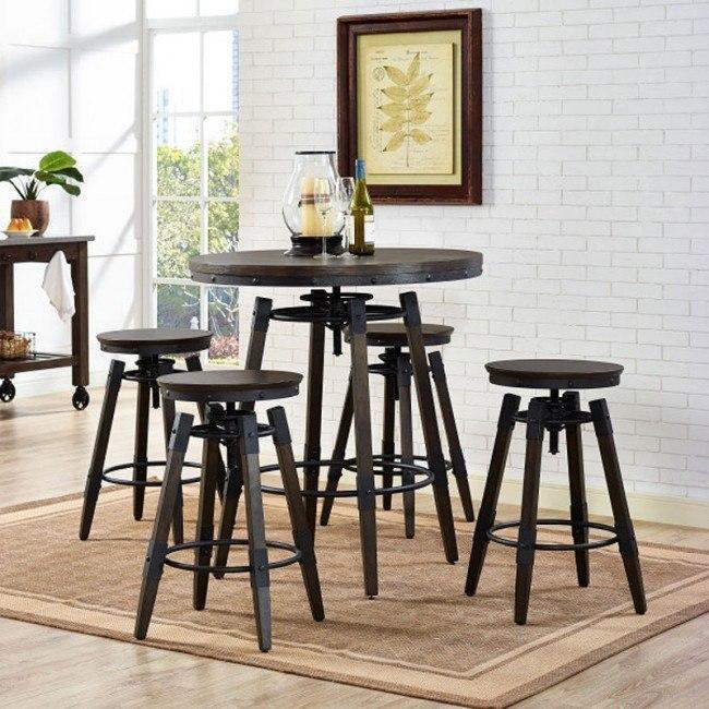 Industrial Adjustable Height Bar Table Set w/ Backless Barstool