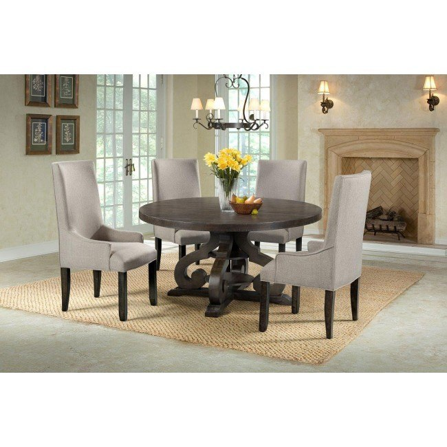 Stone Round Dining Room Set w/ Upholstered Chairs