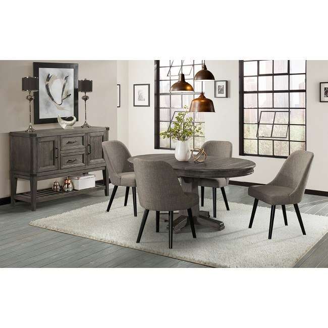 Foundry Round Dining Room Set w/ Upholstered Chairs