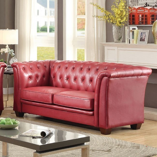G329 Tufted Sofa (Red) - Living Room Furniture - Living