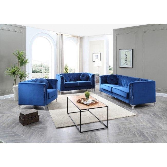 Pompano Living Room Set Navy Blue By
