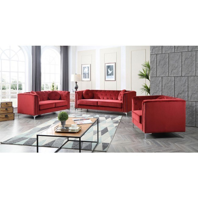 Pompano Living Room Set (Burgundy)