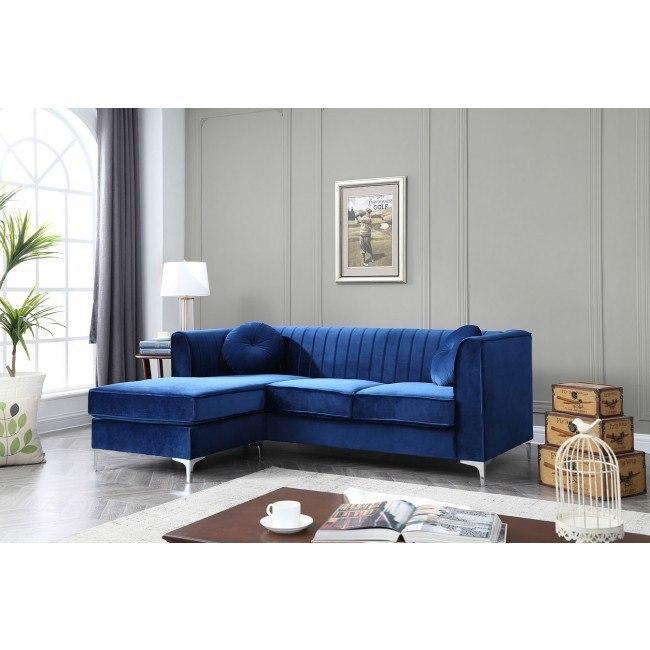 delray sofa chaise navy blue glory furniture go g791b sc