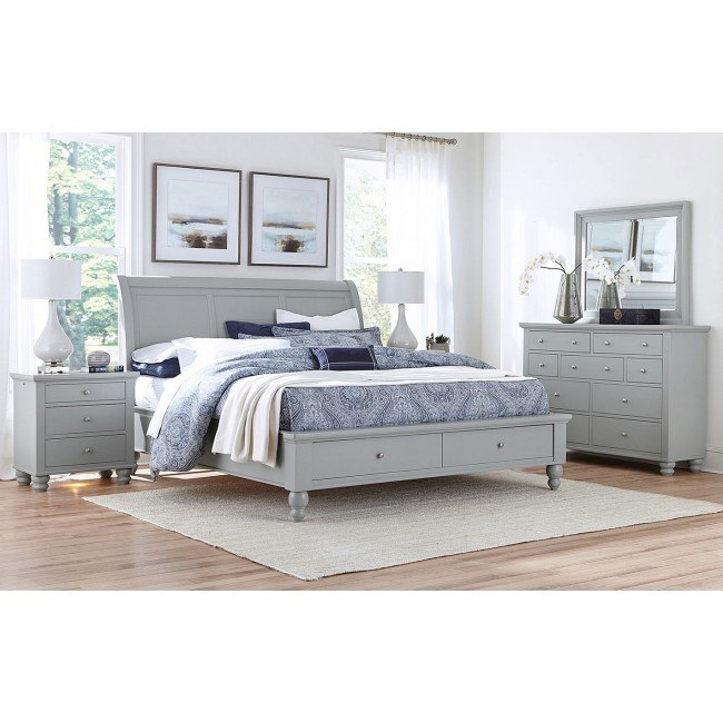 Cambridge Sleigh Storage Bedroom Set Light Gray Paint By Aspenhome Furniturepick