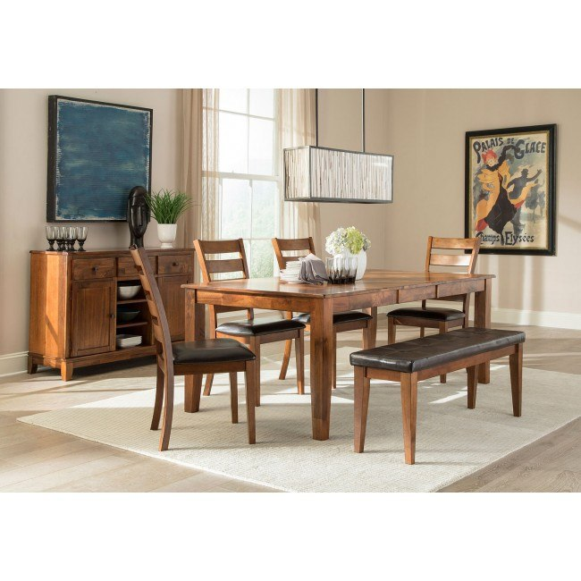 Astonishing Kona Rectangular Dining Room Set W Bench Brandy Gmtry Best Dining Table And Chair Ideas Images Gmtryco