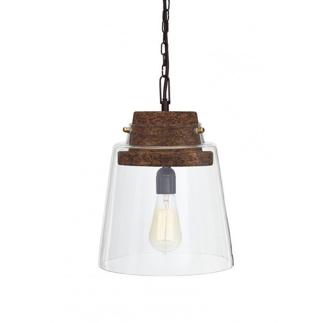 Hakeem Glass Pendant Light (Clear/Brown)