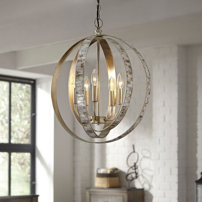 Moshe Metal Pendant Light (Silver Leaf)