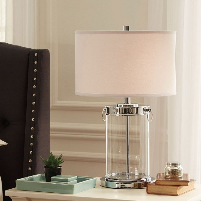 Tailynn Glass Table Lamp Clear Silver By Signature