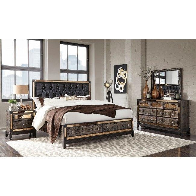 Mirror Storage Bedroom Set (Chocolate)