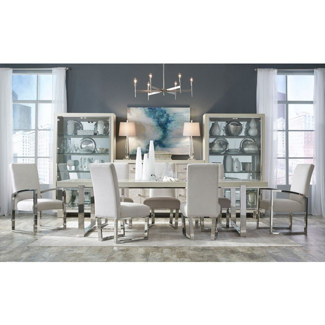 Cydney Rectangular Dining Room Set w/ Metal Chairs