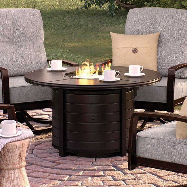 Castle Island Outdoor Round Fire Pit Table