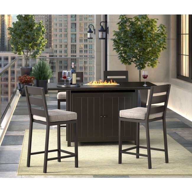 Miraculous Perrymount Outdoor Fire Pit Bar Table Set Machost Co Dining Chair Design Ideas Machostcouk
