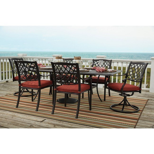 Tanglevale Outdoor Extension Dining Set w/ Swivel Chairs