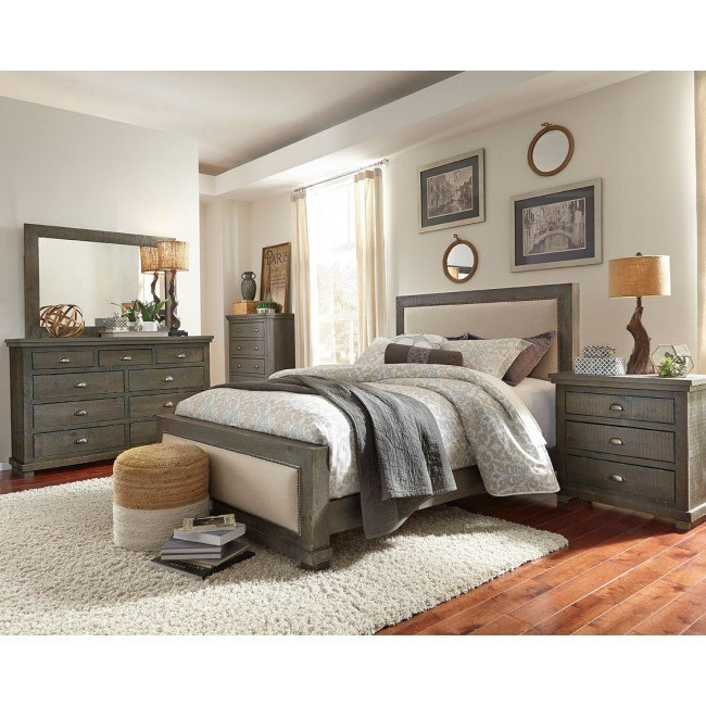 Willow Upholstered Bedroom Set Distressed Dark Gray By