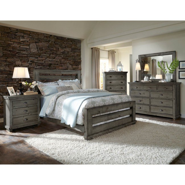 Willow Slat Panel Bedroom Set Distressed Dark Gray By