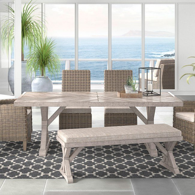 Beachcroft Outdoor Dining Table w/ Umbrella Option