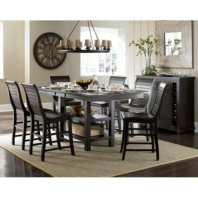 Superbe Willow Rectangular Counter Height Dining Set (Distressed Black)