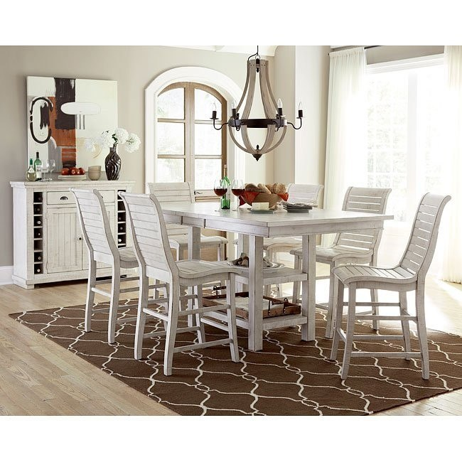 Attrayant Willow Rectangular Counter Height Dining Set (Distressed White)