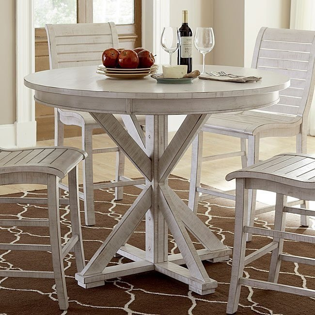 Willow Round Counter Height Table (Distressed White)