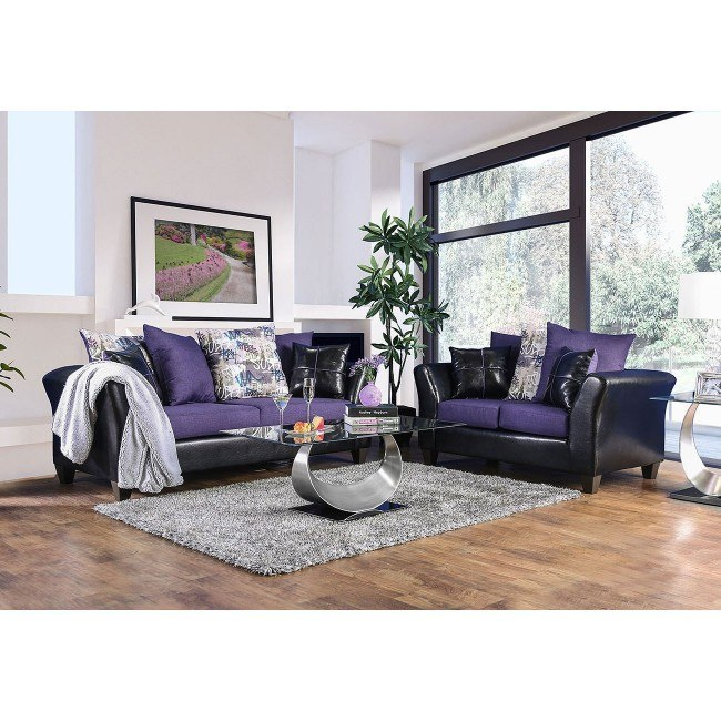 Kaelyn Living Room Set (Black / Purple)