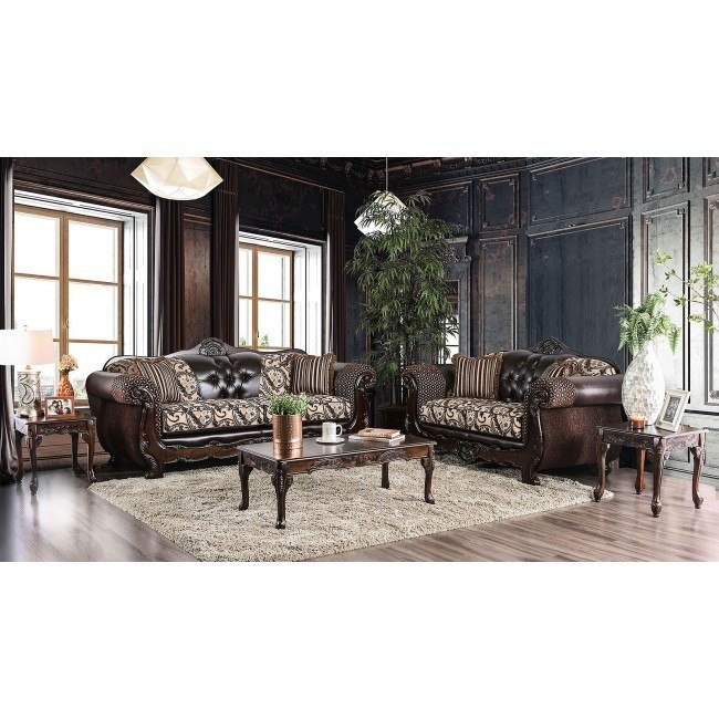 Quirino Living Room Set (Light Brown / Dark Brown)